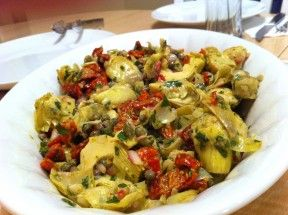 Roasted Artichoke Hearts With Shallots, Sundried Tomatoes and Capers.