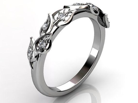 14k white gold diamond unusual unique floral wedding band by Jewelice ...
