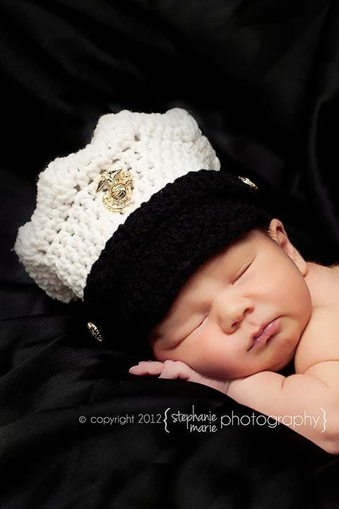 Ummm...pretty much adorable. For all my USMC wives/mommies!!! ~ US Marine Corps Dress Blues Hat by SweetCrochetCreation on Etsy, $28.00