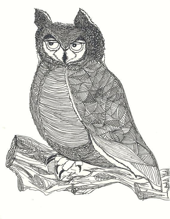 Great Horned Owl illustration Great Horned Owl Illustration