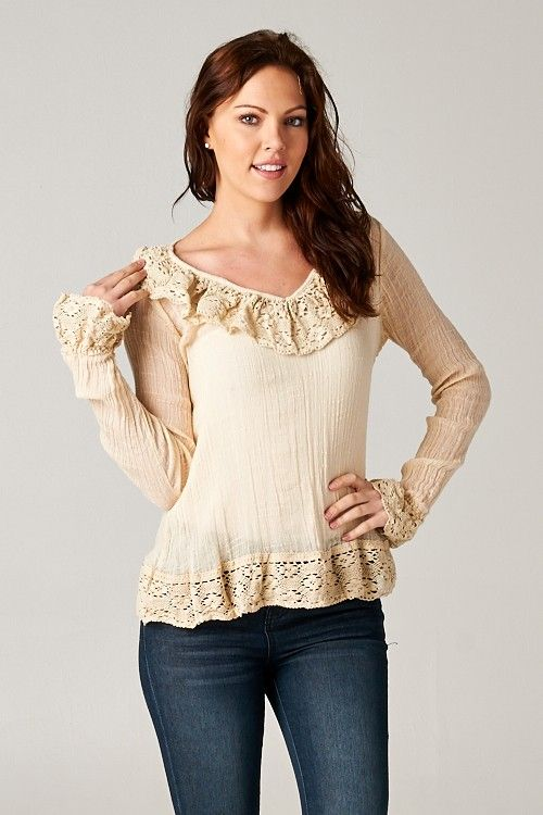 Cotton Gauze Ruffle Peasant Top