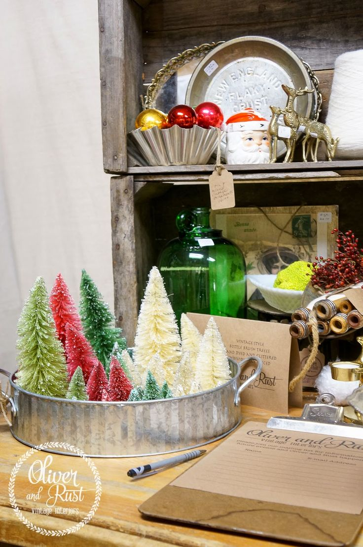Dyed Bottle Brush Trees made by Oliver & Rust | Friday Christmas Favorites from anderson + grant