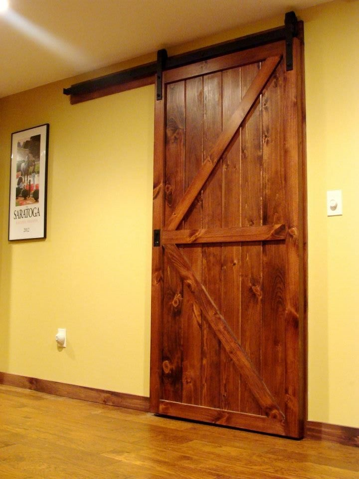 Custom barn door in my basement decorating ideas pinterest for Custom barn doors