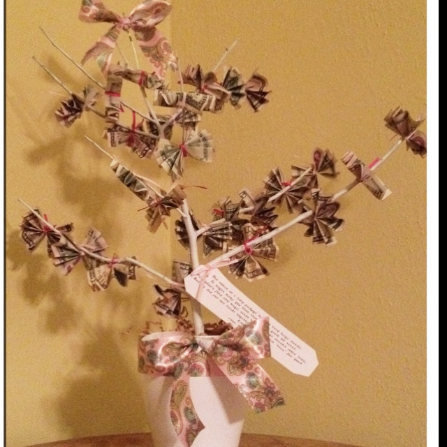 """Baby shower money tree with poem attached- """" She comes in ..."""