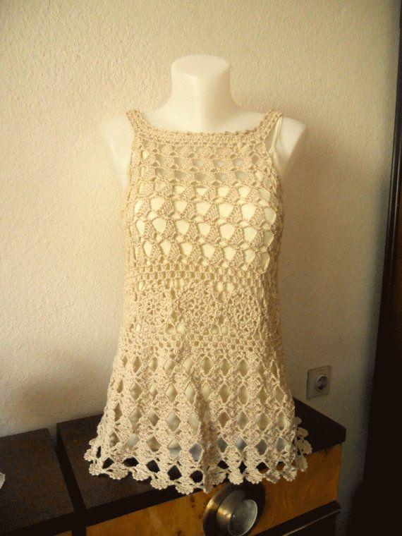 100% Cotton Summer Beidge Crochet Top