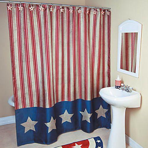 Americana patriotic 4th of july shower curtain bathroom for Americana bathroom ideas