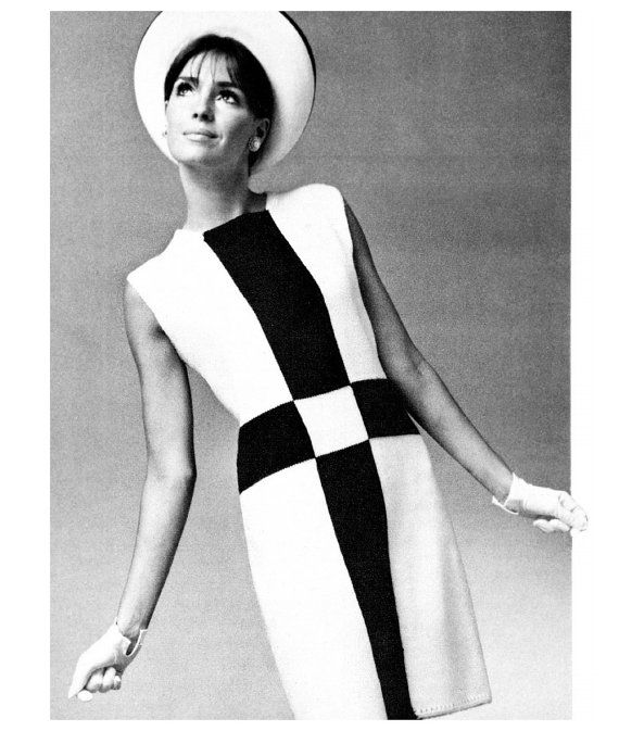 Mod color block mini dress 1960s scooter geometric stripe digital pdf