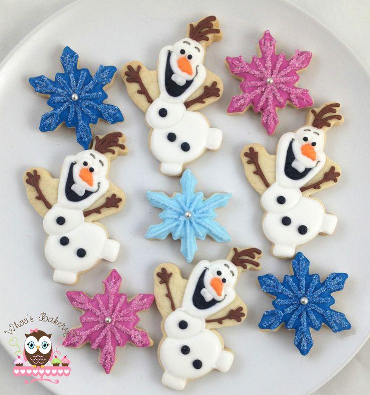 Olaf cookies, Snowflake cookies, Disney Frozen cookies