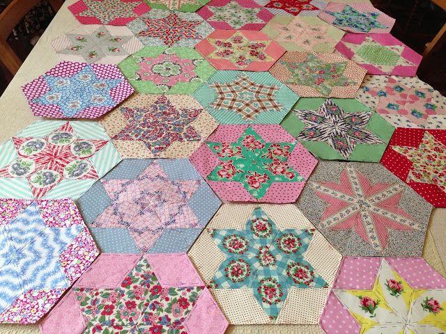 English Paper Piecing Quilt Blog : WIP: hand pieced star quilt @ Quilts Pinterest