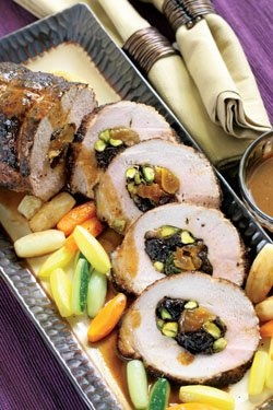Roasted Pork Loin stuffed with dried fruits, sage and pistachios