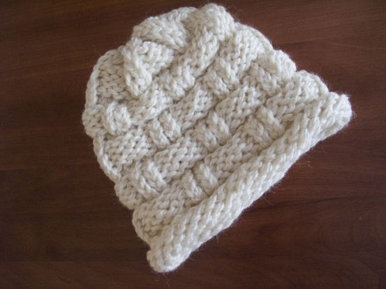 How To Loom Knit A Basket Weave Hat : Basket weave hat knit on a loom knitting