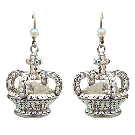 Jubilee - Crystal Crown Silver Tone Drop Earrings by Butler & Wilson