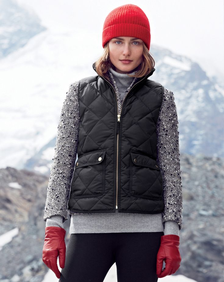 J.Crew Excursion quilted vest, Pixie pant and the cashmere hat.