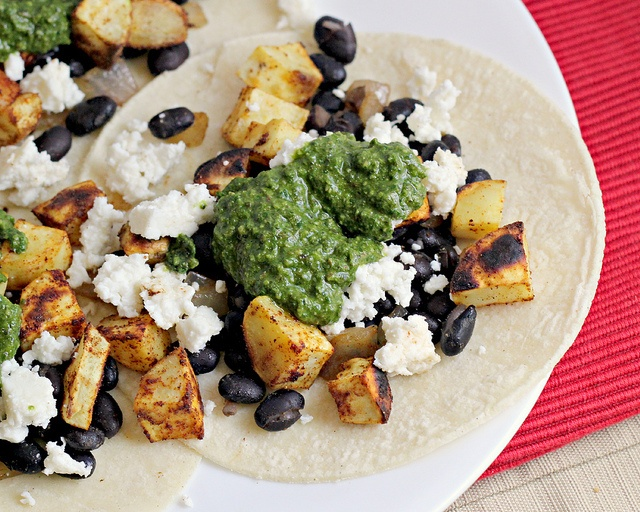 Recipe: Sweet Potato and Black Bean Tacos with Swiss Chard Pesto