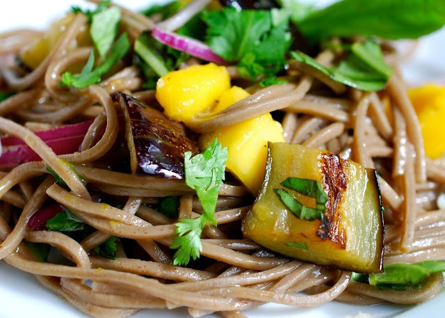 Another delicious veggie delight! Soba Noodles with Eggplant and Mango