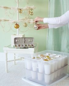 So smart: DIY ornament storage how-to with plastic cups and a storage container. Hot glue gun helps.