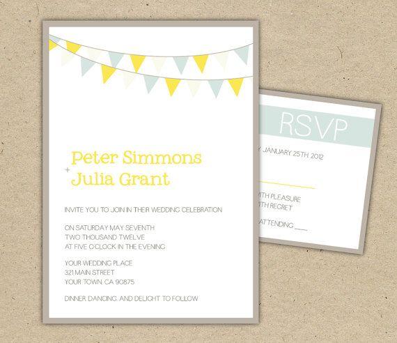 Wedding Invitation DIY printable template bunting by Bejoyfulpaper, $ ...