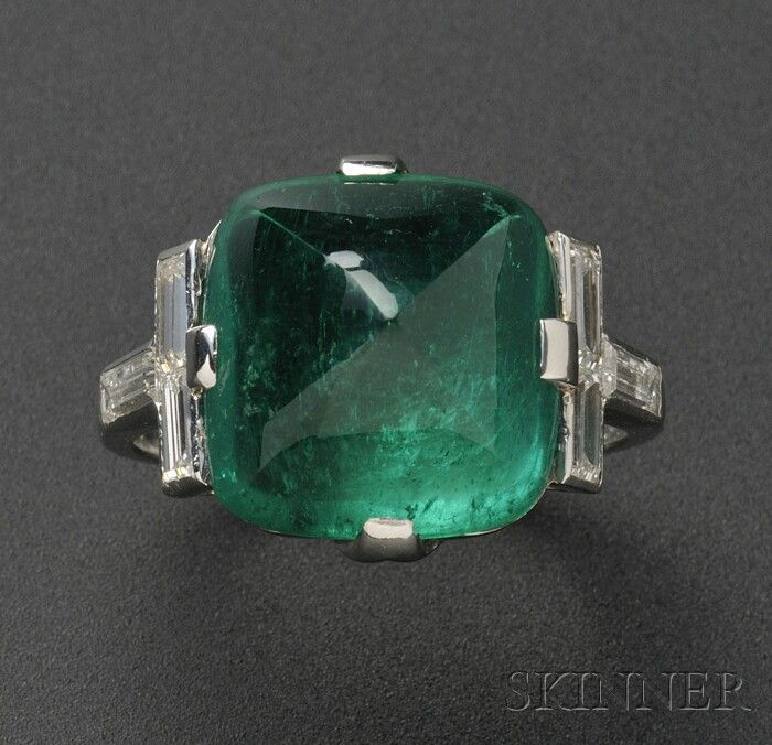 Art Deco Platinum, Emerald, and Diamond Ring, Raymond Yard, prong-set with a sugarloaf emerald measuring approx. 13.00 x 12.50 x 8.00 mm, and weighing 8.72 cts., baguette-cut diamond shoulders, size 6, signed YARD.