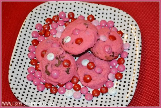 Valentine's Day HOT PINK Chocolate Chip Cookies recipe ...