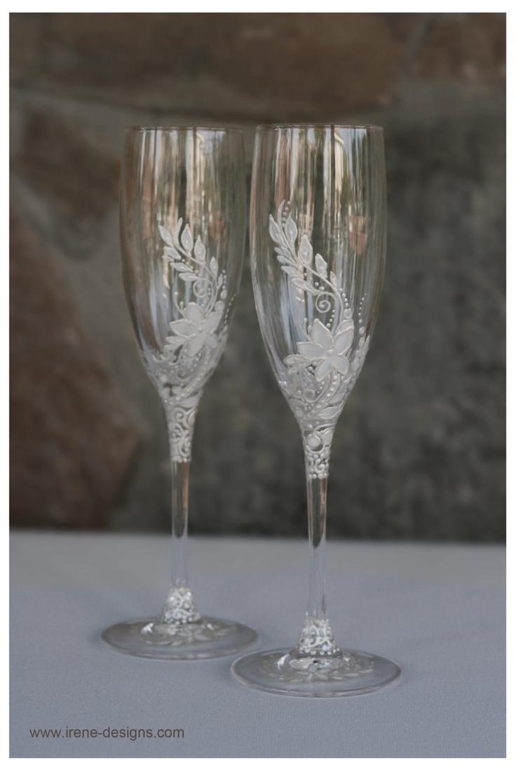 White Wedding Glasses Wedding Champagne Glasses Hand Painted