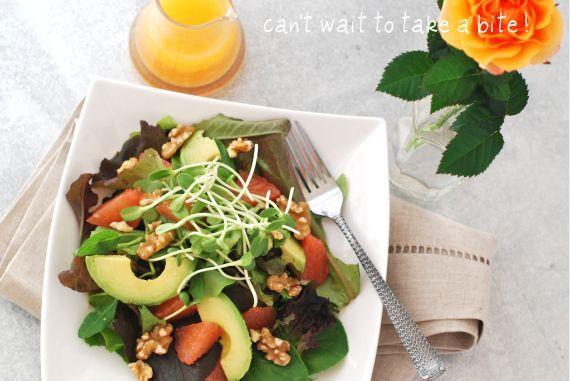 grapefruit & walnut salad w/ citrus dressing