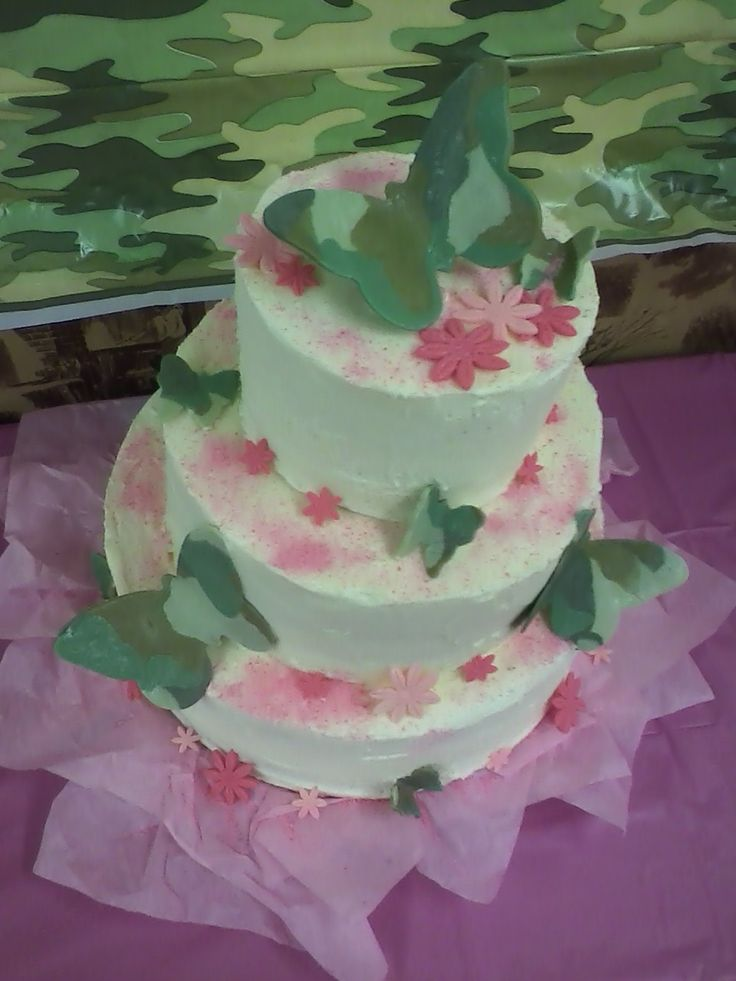 camo and pink baby shower cake party ideas pinterest