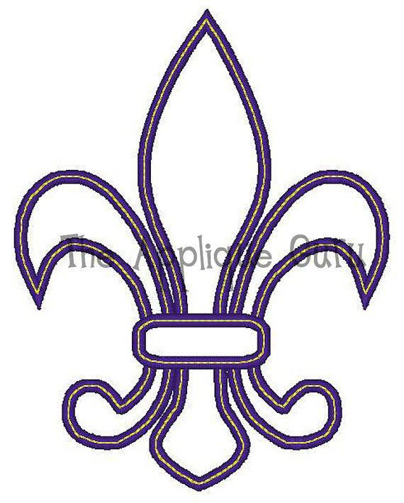 Fleur de lis applique machine embroidery design for Flur design