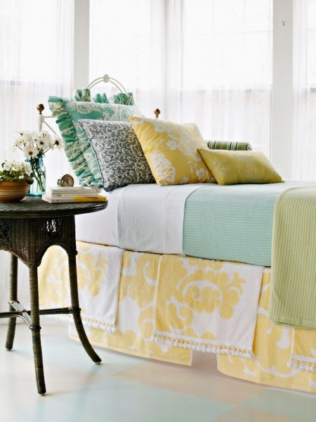 Love the yellow, teal and soft green colors in this bedroom