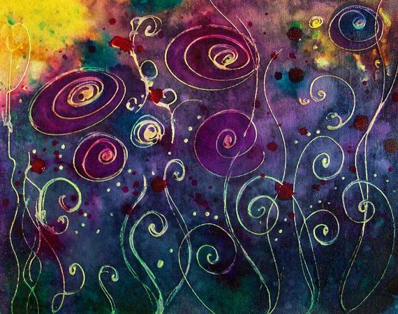 """11"""" x 14"""" canvas board   Original Watercolor painting, sealed. ready to frame. No glass needed!Signed, DatedMy favorite color pallette! Purples, blues, greens, pinks...swirly flowers dancing in the sunset. Springtime, violets, ruby sparkles. Love it!"""