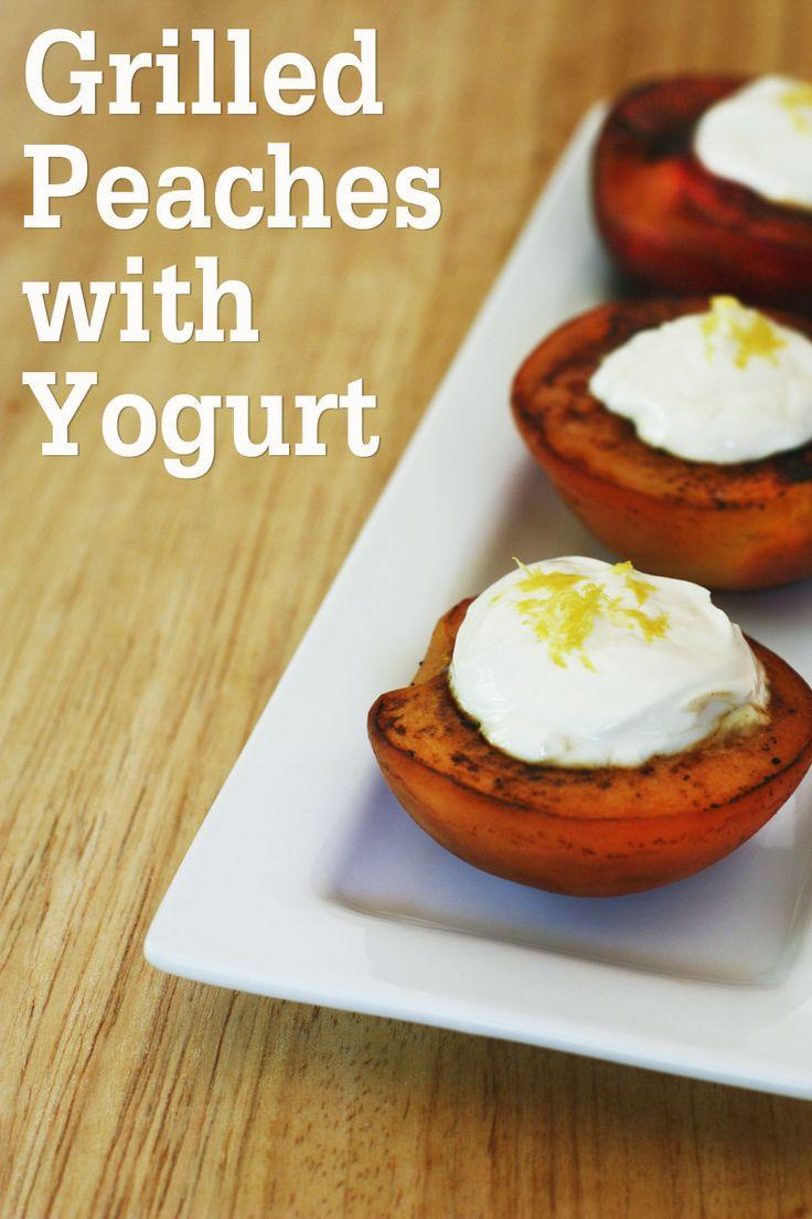 Grilled peaches with Greek yogurt and honey recipe... Yum! #recipe #peaches