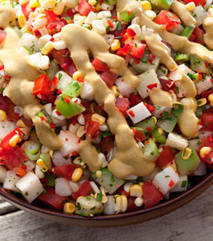 Tomato, Tomatillo, And Corn Salad With Avocado Dressing Recipe ...