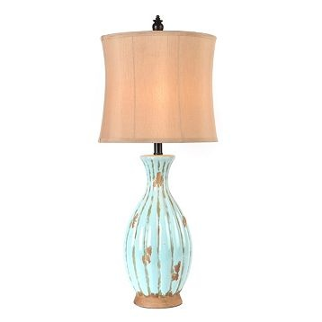 Blue Distressed Table Lamp
