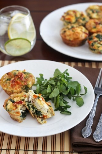 Spinach, Sundried Tomatoes and Feta Frittata Bites | The Healthy ...