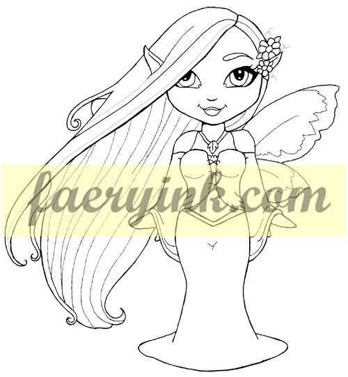 Digital Line Art : Fairy rhapsody faery digital stamp line art drawing