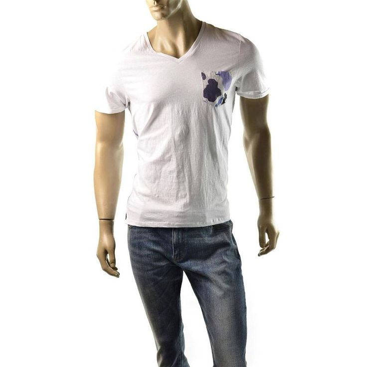 Buffalo mens t shirt david bitton white nilven v neck for Men s v neck pocket tee shirts