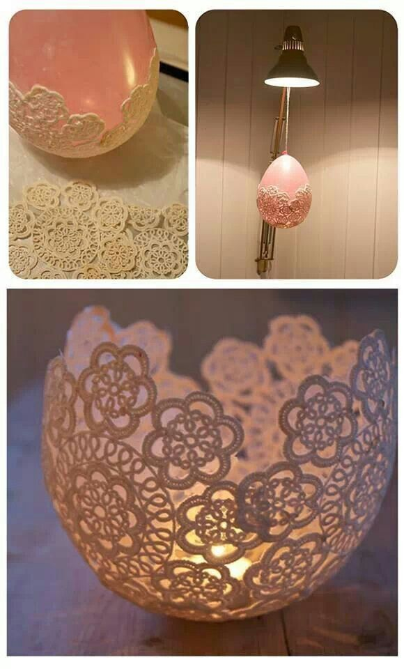 Doily tealight candle holders craft pinterest for Candle holder crafts
