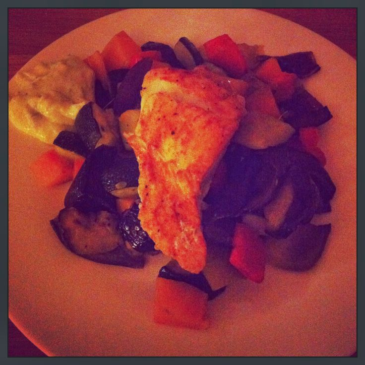 ... to go: Spiced Cod with Roasted Vegetables and Garlic Jalapeno Mayo