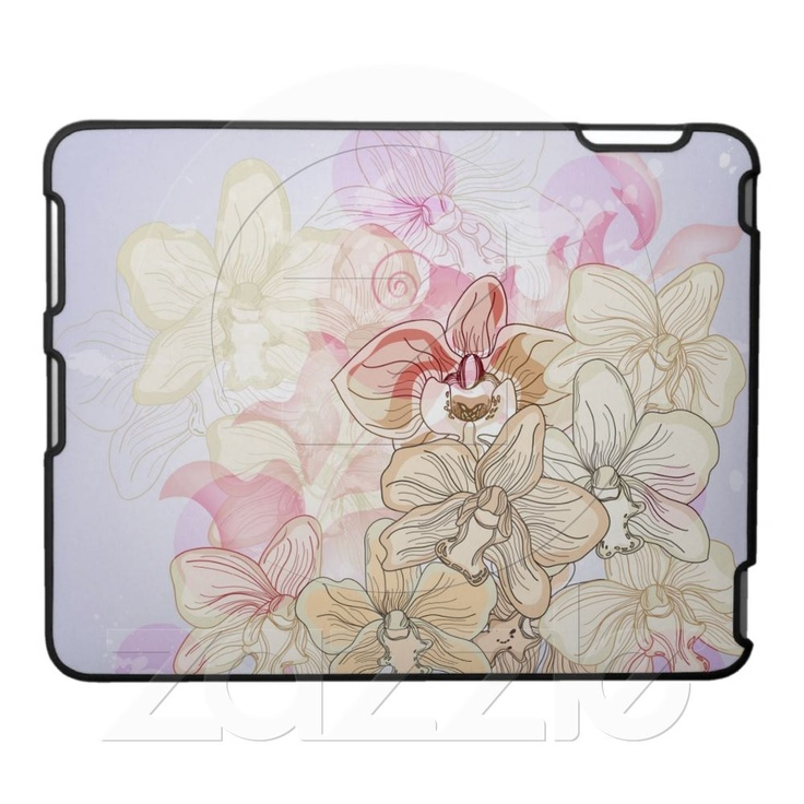 Original design with hand drawn orchids ipad cases By MulhollandDrive