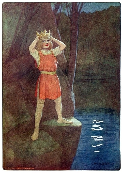 Lo, thou likewise shall be king.    Maria Louise Kirk, frontispiece from The story of Idylls of the king, adapted from Tennyson by Inez N. McFee, New York, 1912.    (Source: archive.org)
