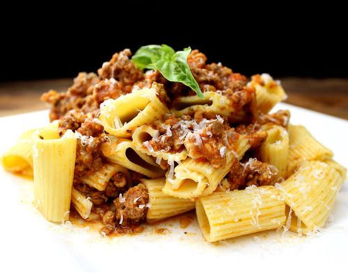 Rigatoni alla Bolognese: Rich ground beef and pork, ragu, fennel ...