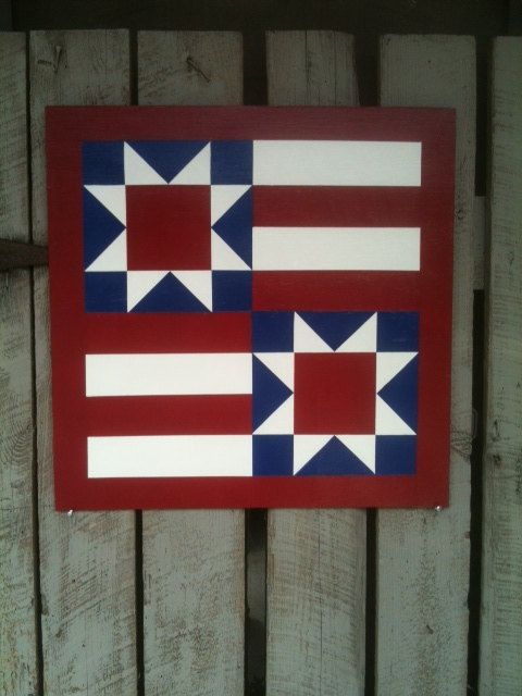 Painted Wood Barn Quilt Star amp Stripes Pattern