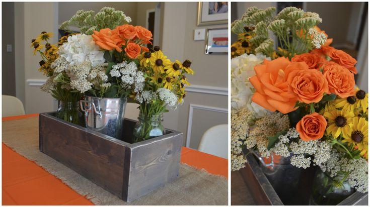 Rustic floral centerpiece - #partydecor