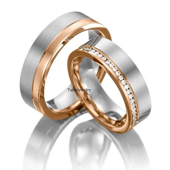 His & Hers Mens Womens Matching 10K White and Rose Gold Two Tone Gold…