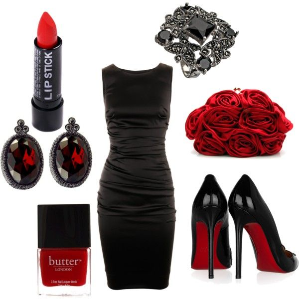 Paint the town red, created by #danalajeunesse on #polyvore. #fashion #style Dolce Christian Louboutin