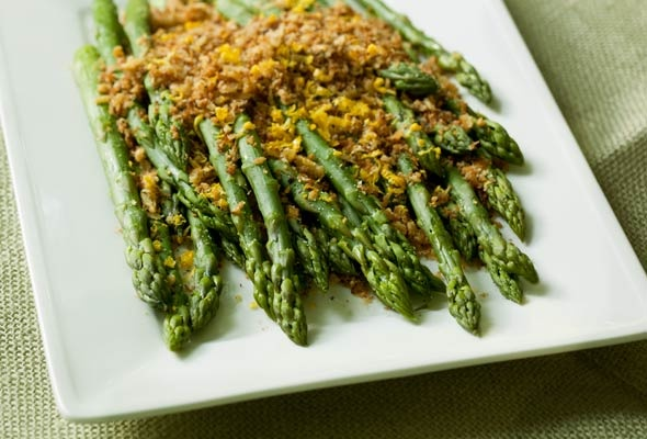 Asparagus with Brioche Crumbs--So THAT'S what brioche is for.