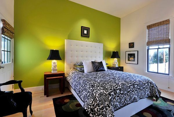 Green Accent Wall Adorable With Bedroom with Green Walls and Accent Color Photo