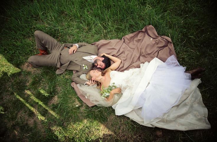 Bride & Groom on ground so sweet
