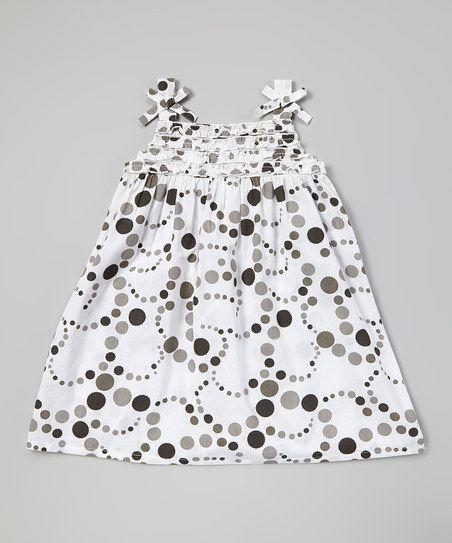 Black Polka Dot Patch Frill Dress - Infant, Toddler & Girls