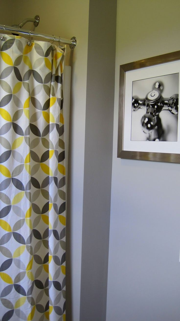 Yellow And Gray Shower Curtain Home Decorating Ideas Pinterest