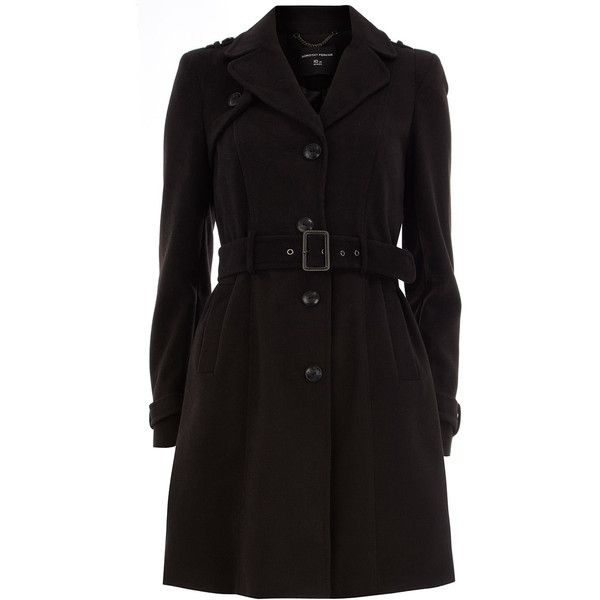 Black military trench coat ($119) ❤ liked on Polyvore